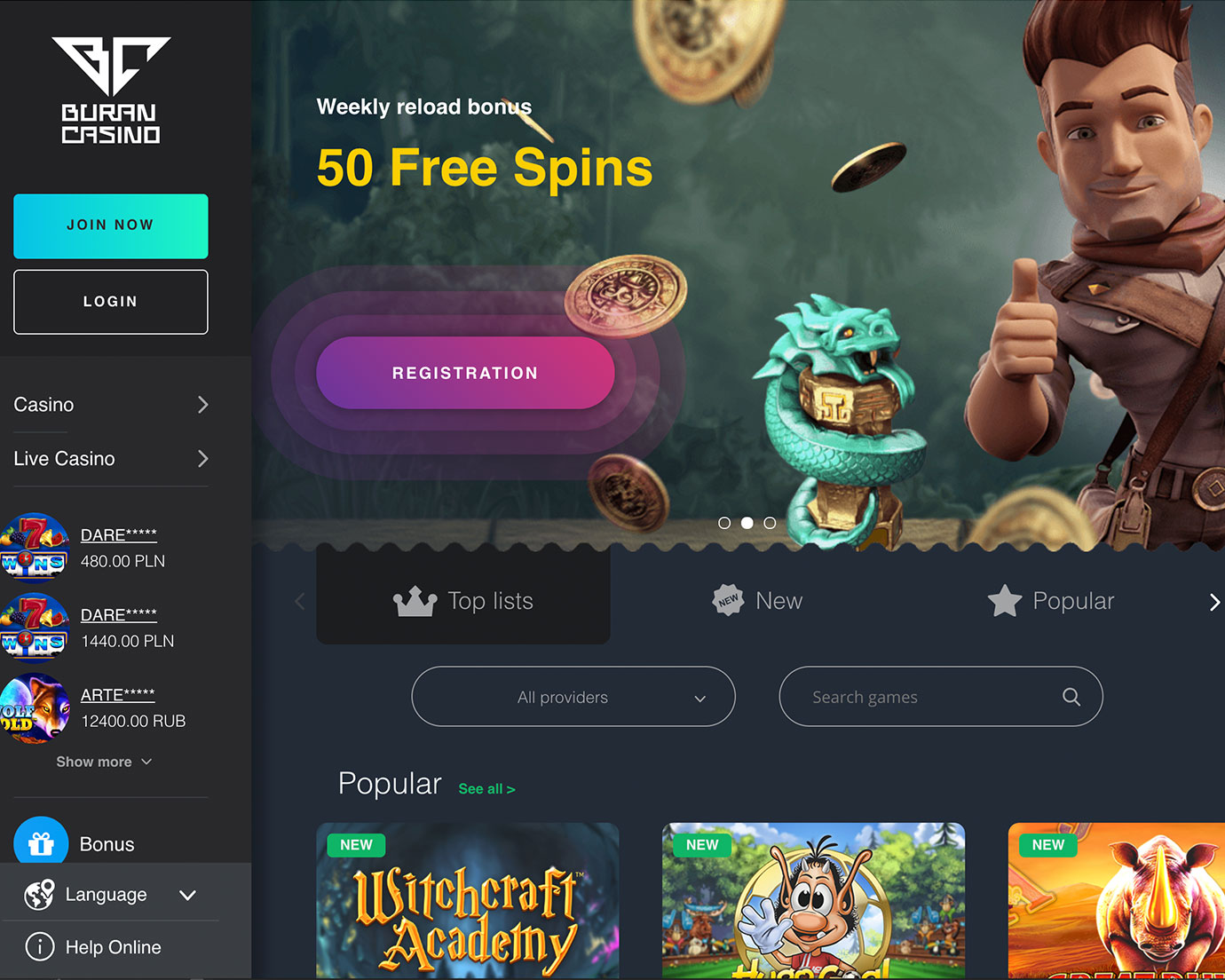 Преимущества Buran Casino